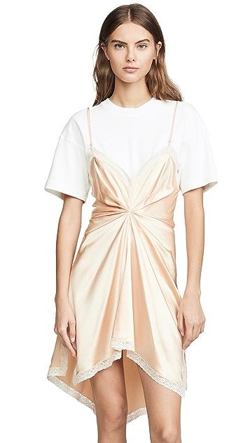 Alexander Wang Платье-комбинация в стиле футболки со сборками