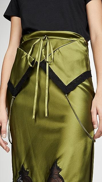 Alexander Wang Tie Fold Over Slip Skirt