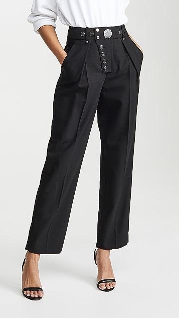 Alexander Wang Широкие брюки с планкой на кнопках