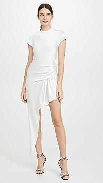 Exposed Leg Short Sleeve Dress