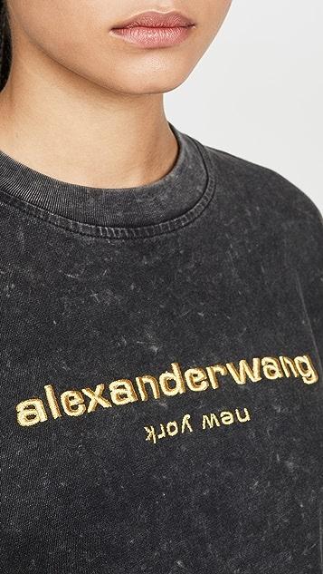 Alexander Wang Футболка с длинными рукавами, вышитым логотипом и выжженным кислотой эффектом