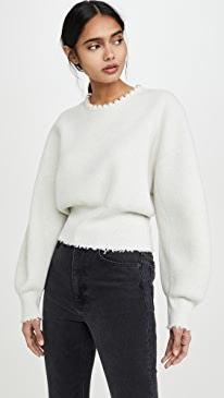 Pullover with Imitation Pearl Necklace