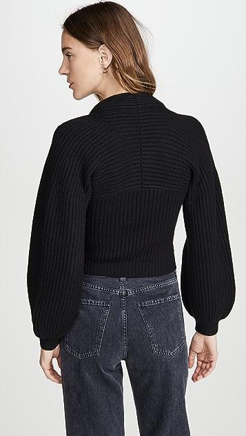 Alexander Wang Пуловер в рубчик с драпированным вырезом