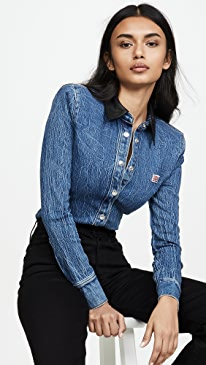 Denim Button Long Sleeve Shirt with Leather Collar