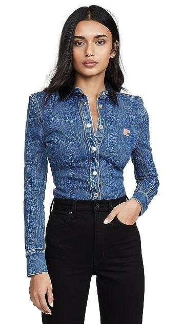 Alexander Wang Denim Button Long Sleeve Shirt with Leather Collar
