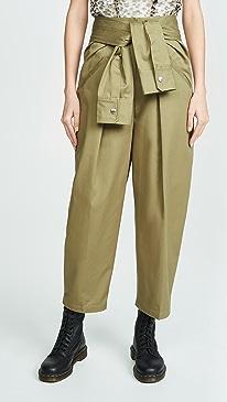 Cotton Tie Front Waist Trousers