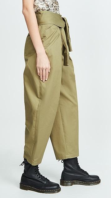 Alexander Wang Хлопковые брюки с завязками на талии спереди