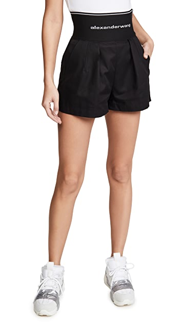 Alexander Wang High Waisted Shorts with Exposed Zipper and Logo Elastic