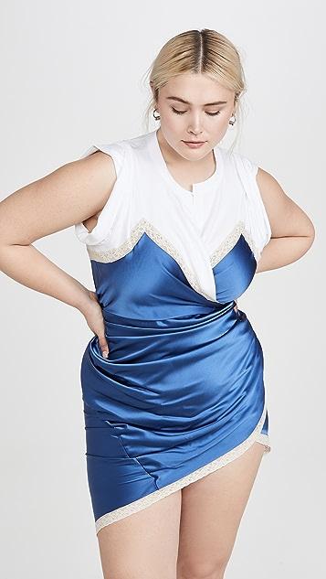 Alexander Wang Draped T-Shirt Slip Dress Hybrid