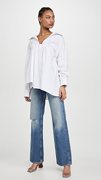 Alexander Wang Bustier Tucked Oxford Blouse
