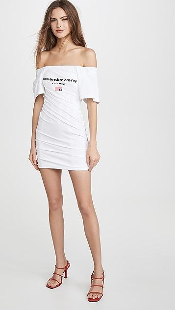 Alexander Wang 扭褶 T 恤束身连衣裙