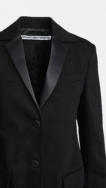 Alexander Wang Boxy Single Breasted Tuxedo Blazer