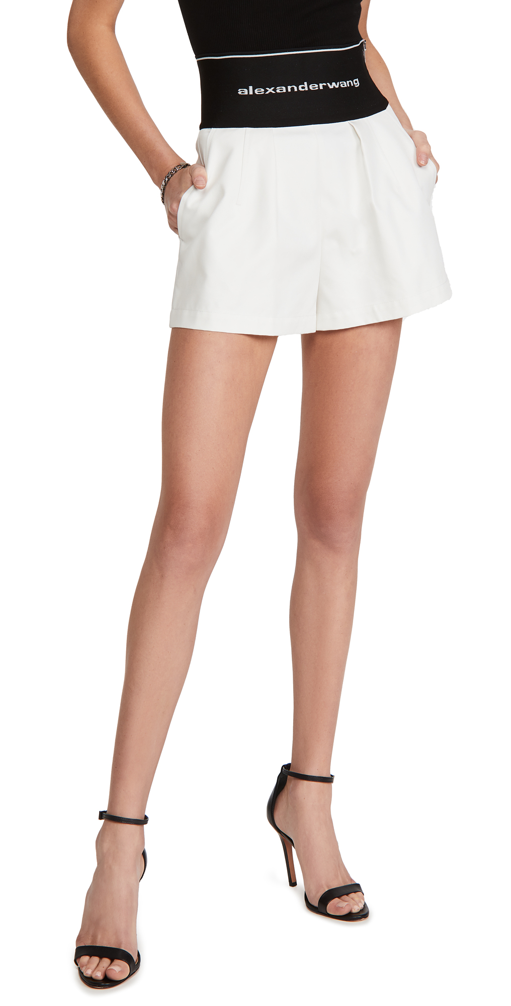 Alexander Wang Safari Shorts with Exposed Zipper & Logo