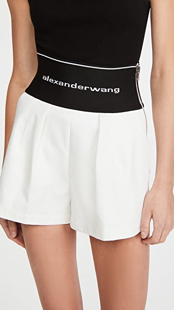 Alexander Wang Safari Shorts with Exposed Zipper & Logo