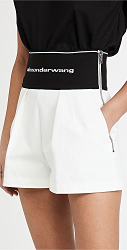 Alexander Wang - Safari Shorts with Exposed Zipper & Logo