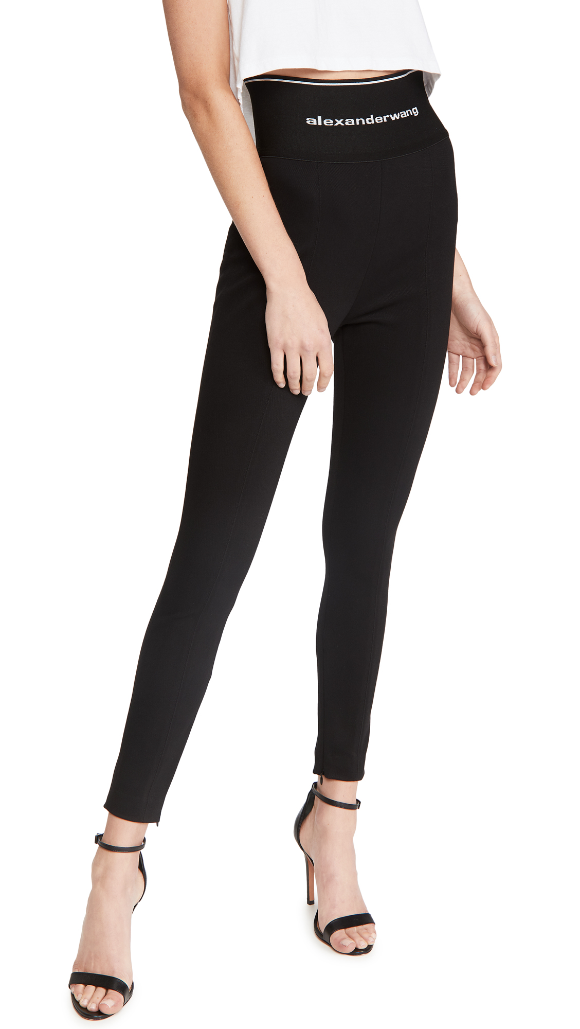Alexander Wang Leggings with Exposed Zipper & Logo