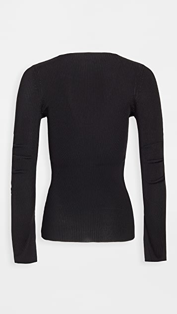 Alexander Wang V Neck Pullover with Split Cuff & Chain