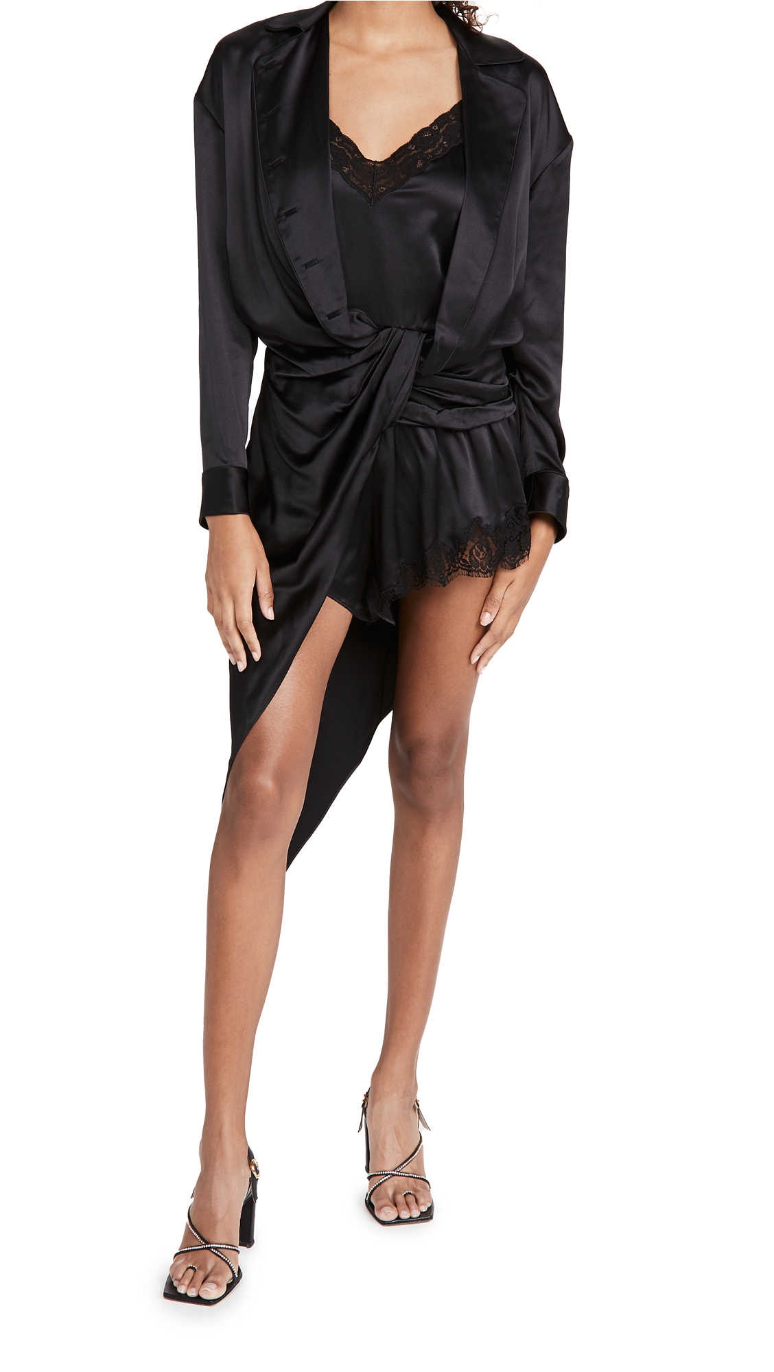 Alexander Wang Draped PJ Slip Dress Hybrid with Lace