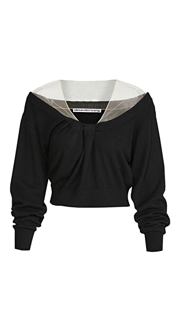 Alexander Wang Pullover with Illusion Tulle