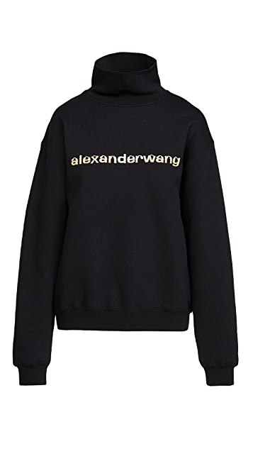 Alexander Wang Funnel Neck Pullover with Logo Graphic