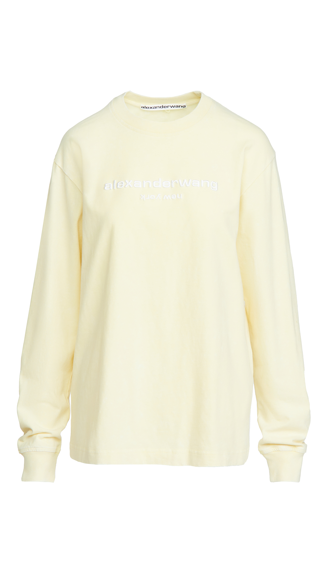 Alexander Wang Acid Washed Tee with Logo Embroidery