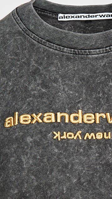 Alexander Wang Acid Washed Tee with Embroidery