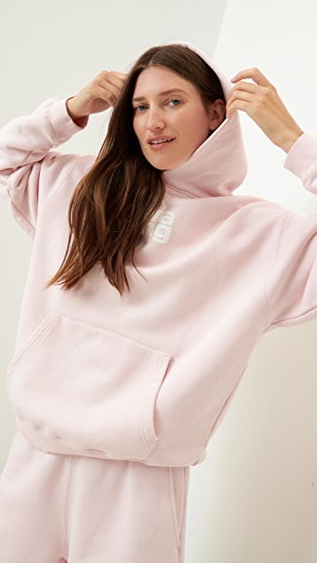 Alexander Wang Garment Washed Hoodie With Wang Puff Print
