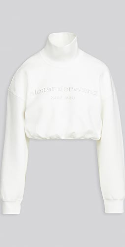 Alexander Wang - Cropped Mock Neck Sweatshirt with Embroidery