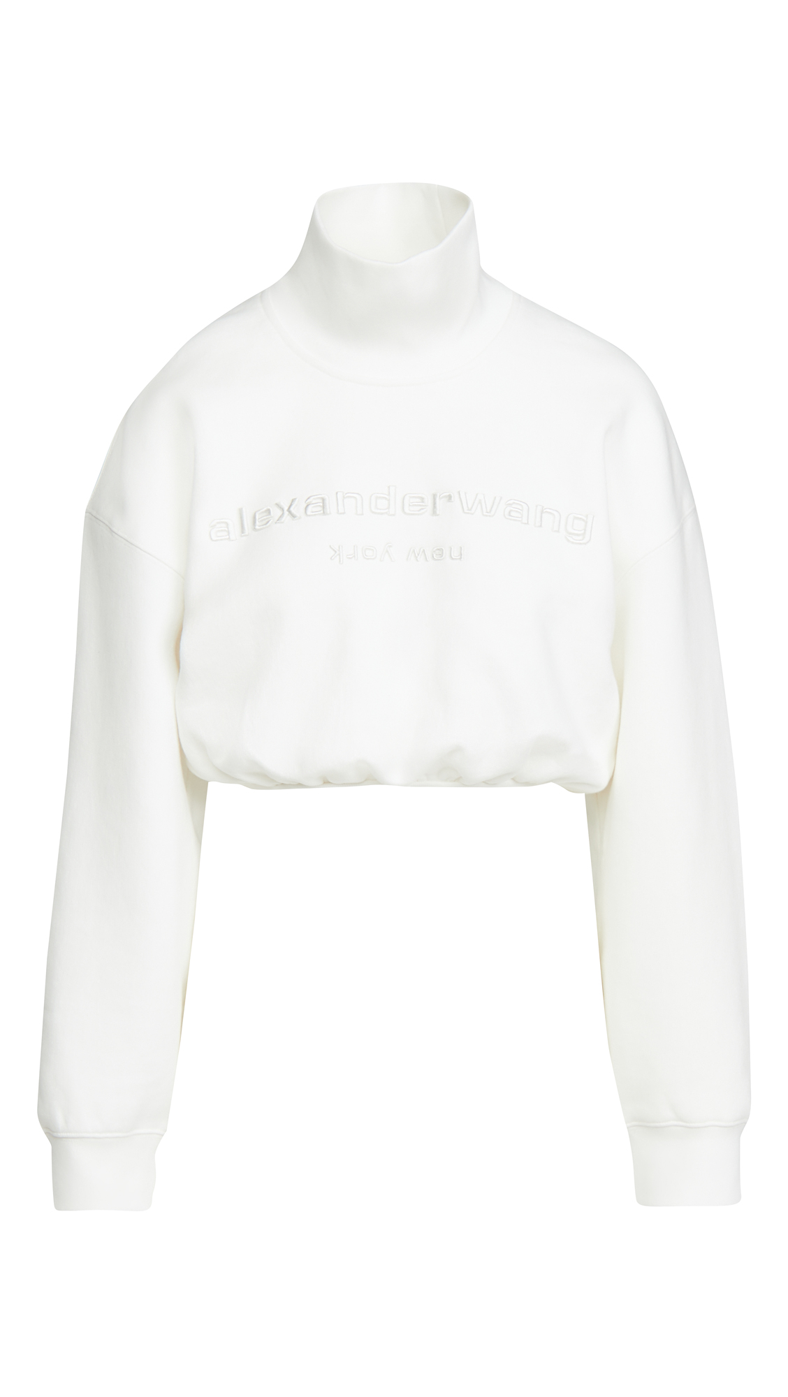 Alexander Wang Cropped Mock Neck Sweatshirt with Embroidery