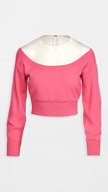 Alexander Wang Fitted Cropped Pullover With Sheer Yoke