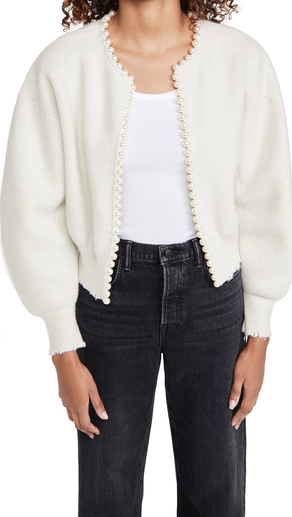 Alexander Wang Cropped Cardigan with Imitation Pearl Placket