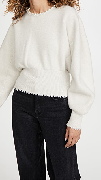 Alexander Wang Crew Neck Pullover with Pearl Necklace