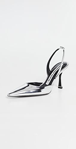 Alexander Wang - Grace 85mm Silver Mirror Slingbacks