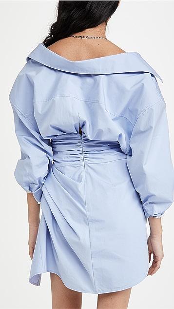 Alexander Wang Long Sleeve Voluminous Cinched Waist Dress