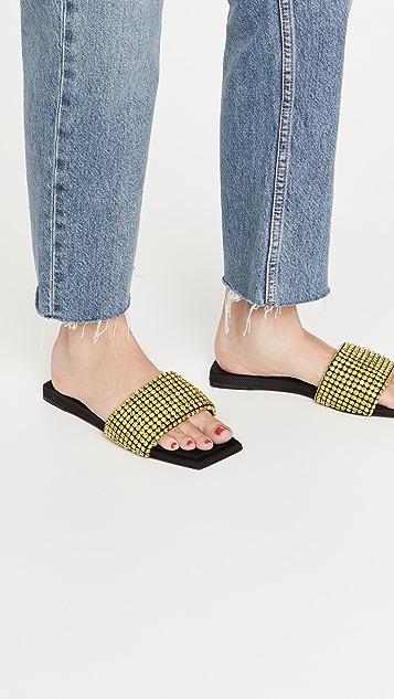Alexander Wang Anya Crystal Flat Slide Sandals