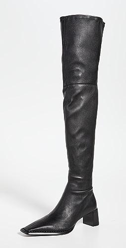 Alexander Wang - Aldrich 55 Thigh High Black Stretch Leather Boots