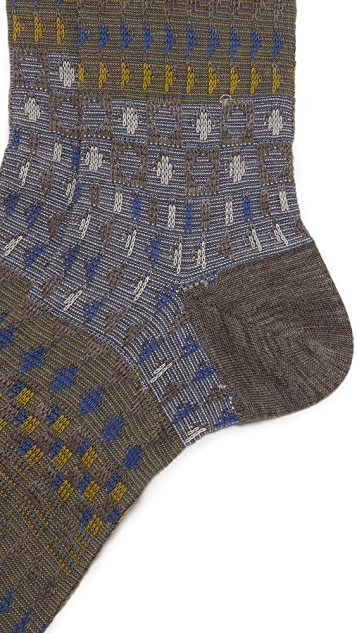 Ayame Double Checker Wool Socks