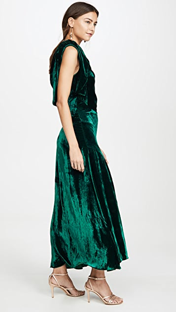 Azeeza Mittio One Shoulder Velvet Dress