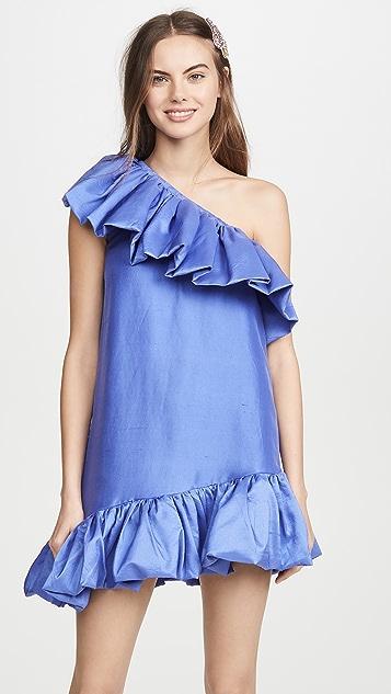 Azeeza One Shoulder Exaggerated Ruffle Mini Dress