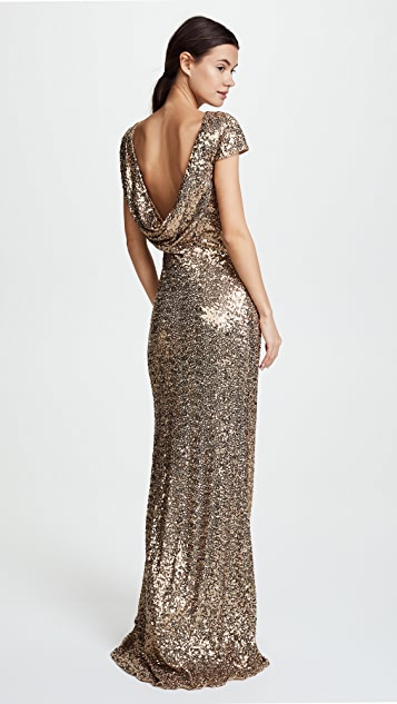 Badgley Mischka Collection Sequin Cowl Back Gown