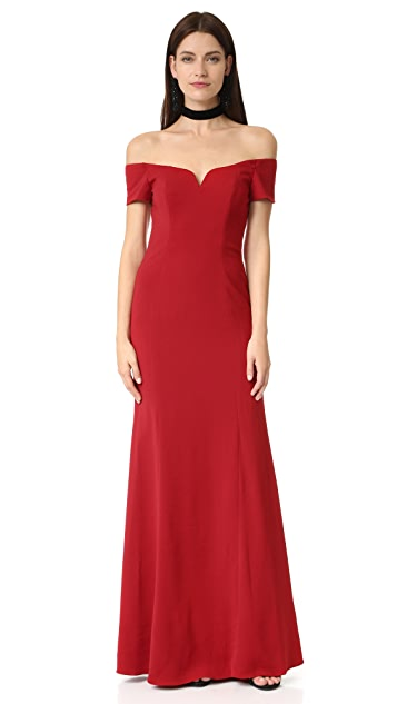 Badgley Mischka Collection Off Shoulder Short Sleeve Gown