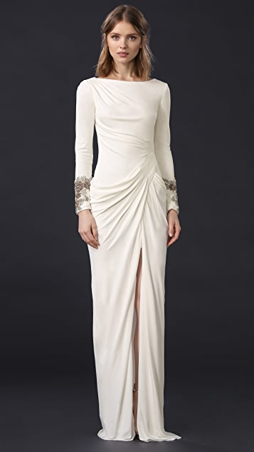 Badgley Mischka Collection Draped Gown