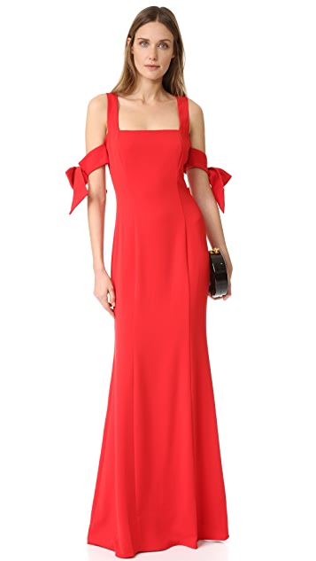 Badgley Mischka Collection Bow Sleeve Gown
