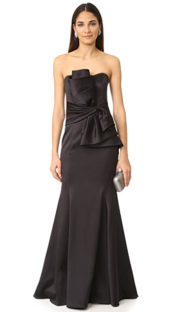 Badgley Mischka Collection Sculpted Flower Waist Gown