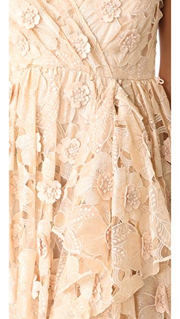 Badgley Mischka Collection Cutout Organza Ruffle V Neck Gown