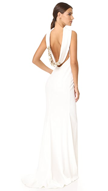 Badgley Mischka Collection Loop Back Gown