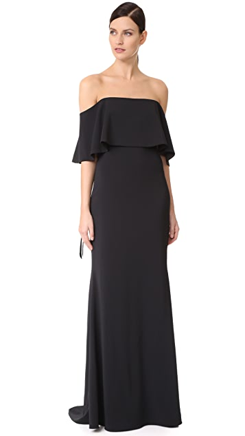 Badgley Mischka Collection Ribbon Laces Cape Gown