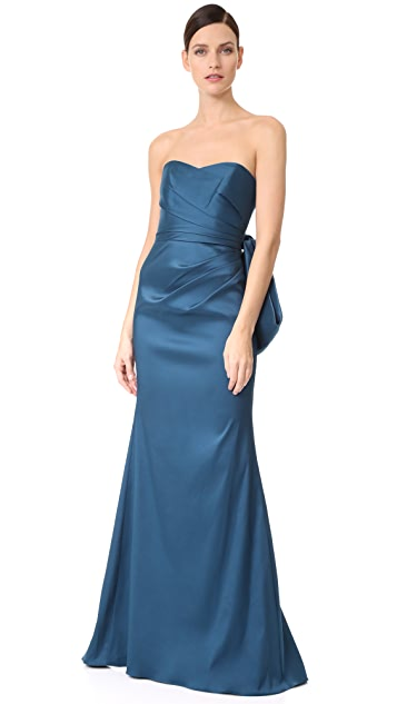 Badgley Mischka Collection Bow Back Micado Gown