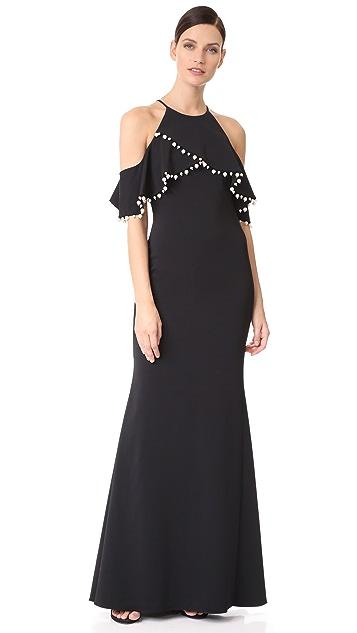 Badgley Mischka Collection Imitation Pearl Trim Gown