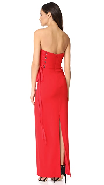 Badgley Mischka Collection Strapless Lace Up Gown